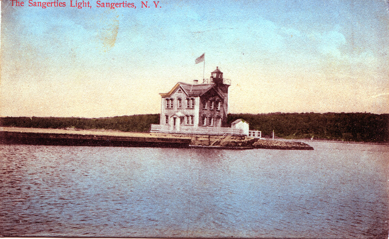 Old postcard view of the Saugerties Lighthouse in the Hudson River