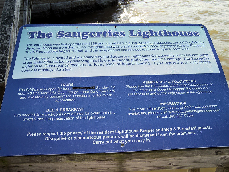 During the 1880's the harbor at Saugerties was enlarged and improved through several projects.  A jetty was built out to the lighthouse and a road atop the jetty connected the lighthouse to the mainland for the first time.