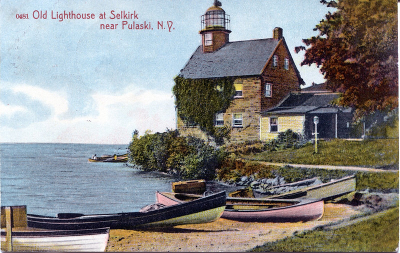 An old postcard view of the Selkirk Light at the mouth of the Salmon River.