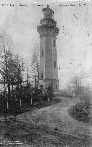 A postcard view of the Staten Island Lighthouse shortly after its completion when the area was much less congested.