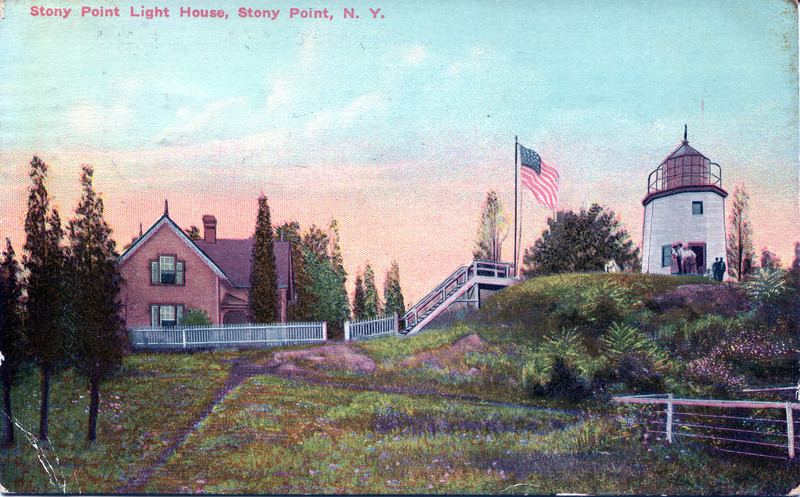 Old postcard view of the Stony Point Lighthouse and the 1880 Keepers dwelling.