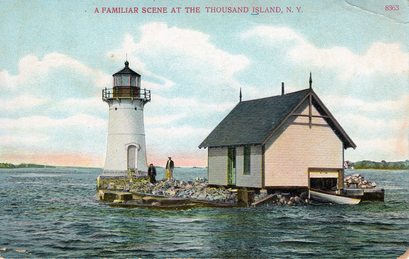 Turn of the century view of the Sunken Rock Lighthouse.  The message on this postcard stated there was 'good fishing' at the government station and Light House.