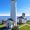 The new Tibbetts Point Lighthouse was a 47 foot circular brick tower topped by an octagonal iron lantern 15 feet high.