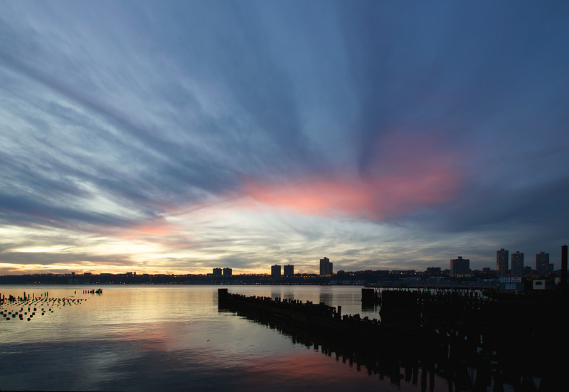 Hudson River, November 11, 2011, 4:50 pm<br /> <br /> A strange cloud formation at sunset along the Hudson River. I shot this at 10 mm (16 mm with 1.6 crop factor) at f9, 1/4, 100 ISO.