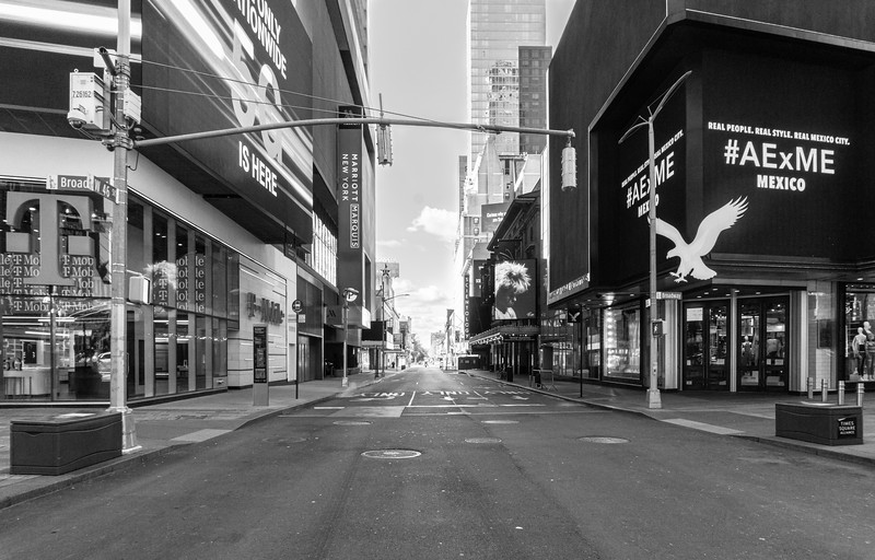 Times Square, 46th and Broadway, 2 pm Saturday Afternoon During the COVID Crisis, April 4, 2020