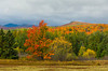 The Adirondack Mountains ablaze in fall foliage color in New York State, USA.