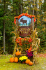 An Indian Lake sign decorated in autumn colors in the Adirondack Mountains, New York State, USA.