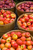 Baskets of red apples for sale at Alyce and Rogers Fruit Stand in Mount Tremper, New York, USA.