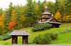 A rustic Ukrainian Orthodox church on a hillside with fall foliage in the Catskills of New York state, USA.