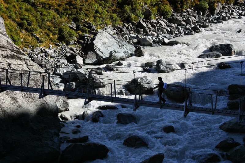 The second swing bridge along the Hooker Valley Trail in Aoraki /  Mt. Cook National Park.