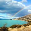 Rainbow over Lake Pukaki in the south island of New Zealand.