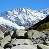 The view along the Hooker Valley Trail near the Hooker Valley Glacier Lake in Aoraki / Mt. Cook National Park, New Zealand after a fresh snowfall.