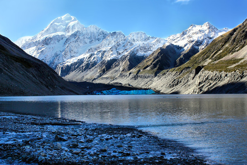 Hooker Valley Glacier Lake in Aorkai / Mt. Cook National Park in New Zealand.