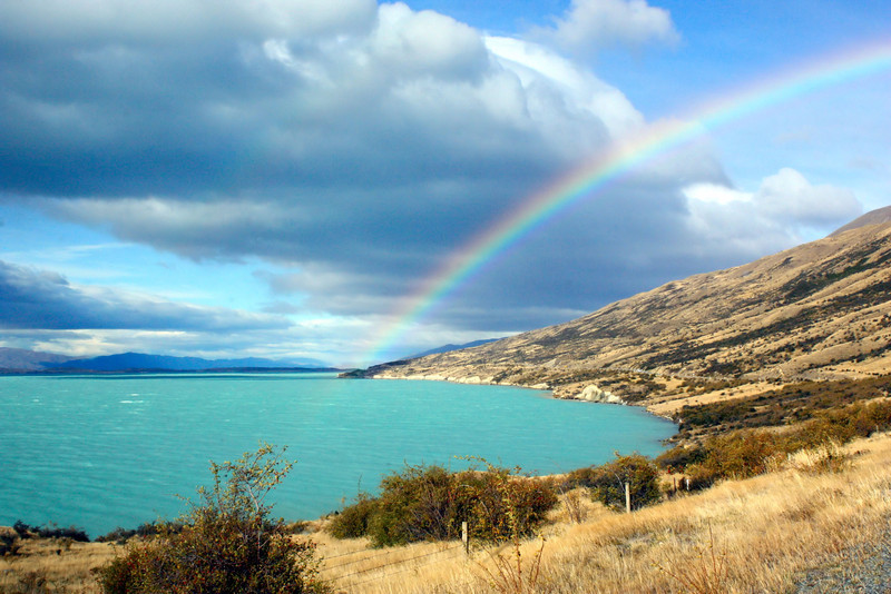 Rainbow over Lake Pukaki in the south island of New Zealand.