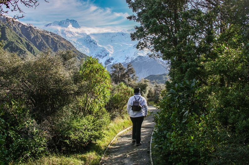 Walking through beautiful Aoraki / Mt. Cook National Park.