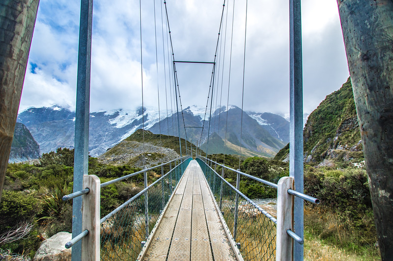 "The second of three swing suspension bridges along the Hooker Valley Glacier Trail.  The park is in the South Island near Lake Pukaki.<br /> <br /> <a href=""http://www.doc.govt.nz/parks-and-recreation/places-to-go/canterbury/places/aoraki-mount-cook-national-park/"">http://www.doc.govt.nz/parks-and-recreation/places-to-go/canterbury/places/aoraki-mount-cook-national-park/</a>"