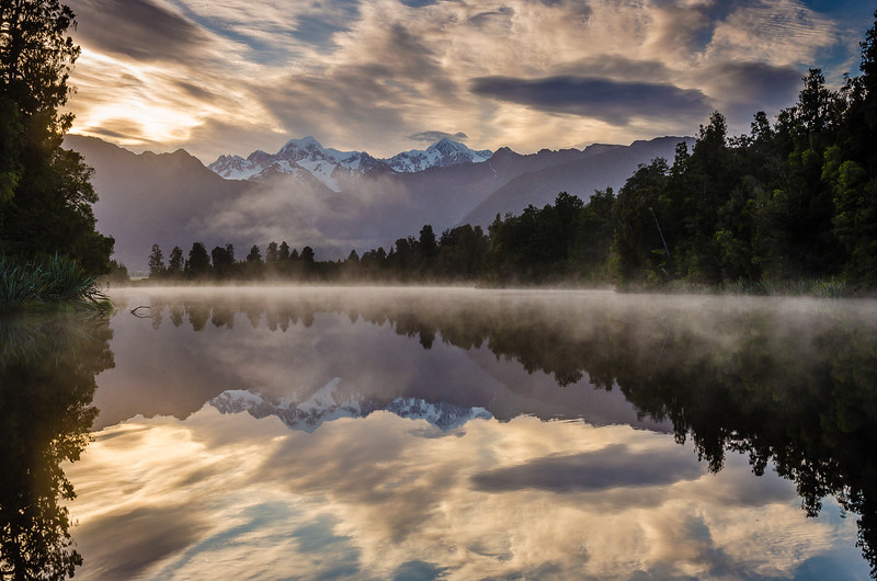 Lake Matheson's Golden Dawn