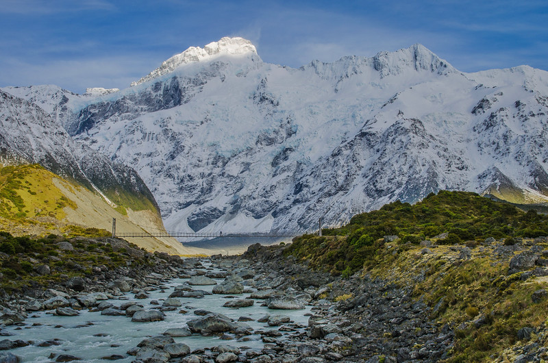 Dwarfed by the high peaks of the Southern Alps