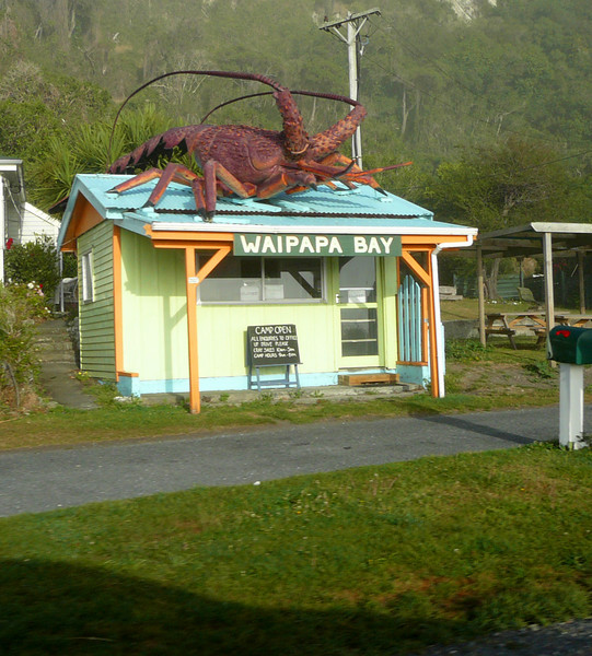 Crayfish.  One could buy a half crayfish (cooked) for $40 NZ.  But not us.<br /> Giant critters on the roof were often used for advertising.