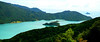 Astonishing color in one of Marlborough Sounds, as viewed from Queen Charlotte Drive.