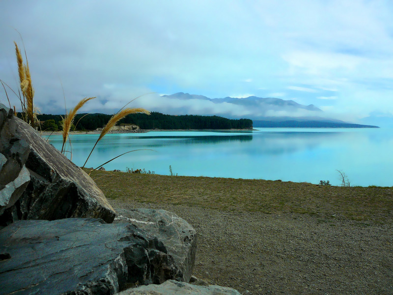 The lake truly is that color, combination of reflection of the sky and the rock flour scoured from the mountains by glaciers.
