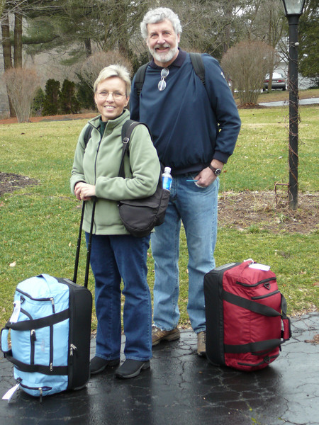 This is us, leaving home in Pennsylvania on a rainy winter day.  We got lots of compliments on our handy Eddie Bauer rolling duffels.  They were just the ticket for smashing into the overhead bins.