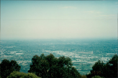 Travel to Healesville: view of Melbourne in distance from Puffing Billy steam train