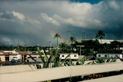 Travel to airport for flight to LA: note the rainbow