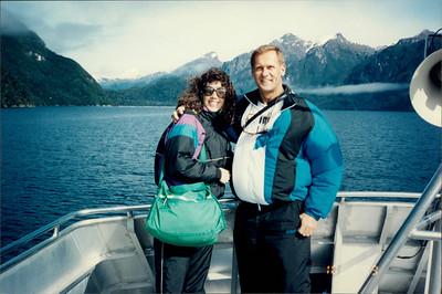 Doubtful Sound: Lake Manapori - we're not that fat; it's very windy