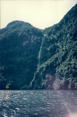 Cruising in Doubtful Sound: waterfall