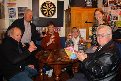 Anticlockwise John Westlake, Claire Armstrong, Paula Fisher, Shaun Wootton, Steve Armstrong and Geoff Armstrong sample the menu of the Bermuda Triangle Beer Festival 260120PN5