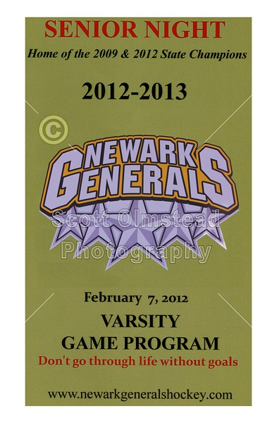 SENIOR NIGHT - Thursday, February 7, 2013 - NE Storm at Newark Generals