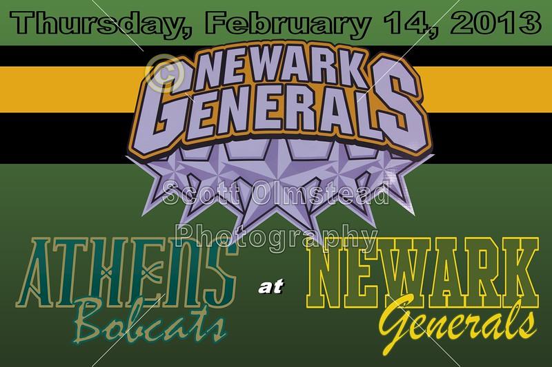 Thursday, February 14, 2013 - Athens Bobcats at Newark Generals