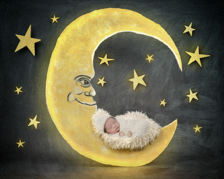 Newborn Baby Sleeping on Night Star