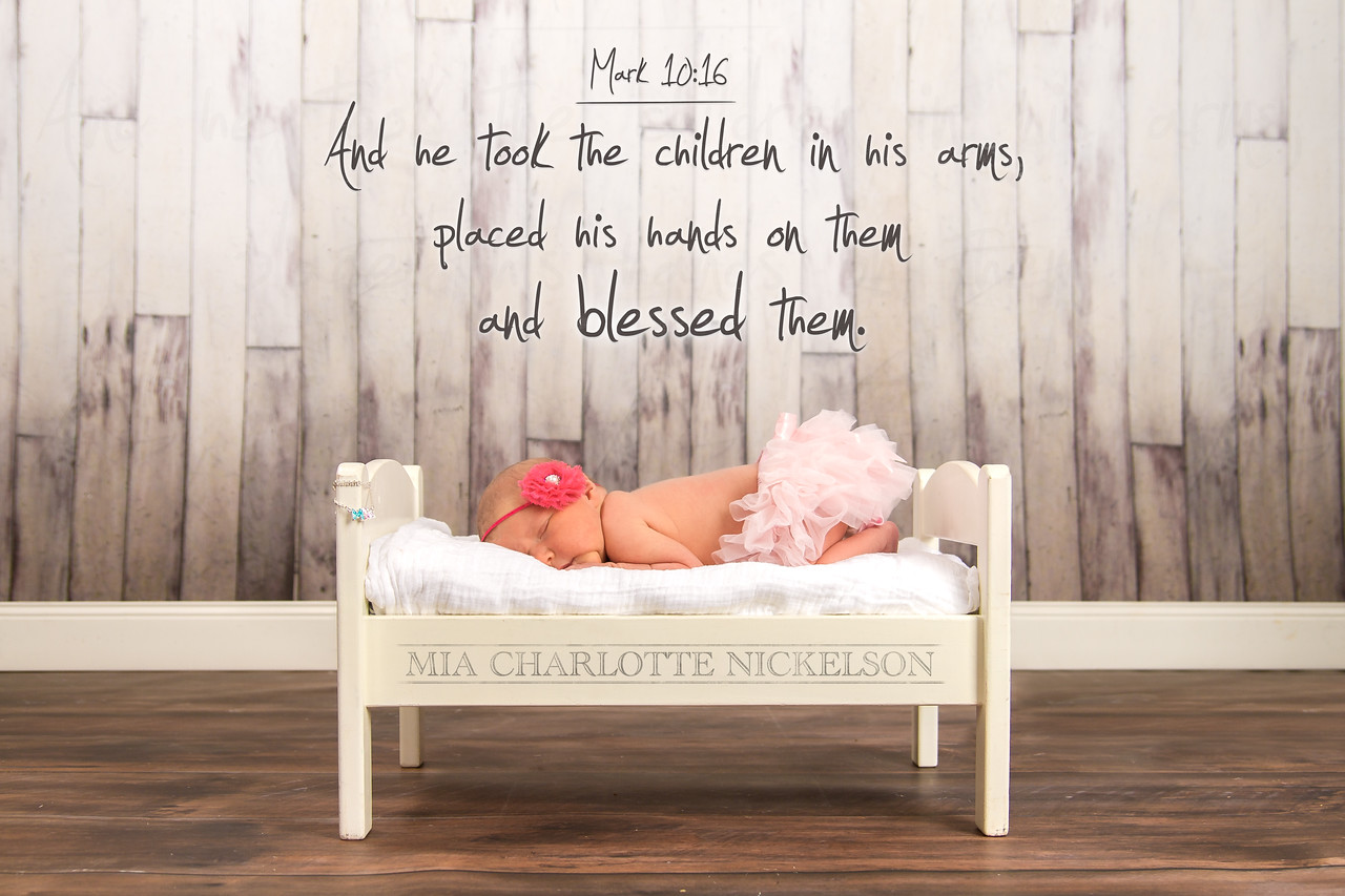 """And he took the children in his arms, placed his hands on them and blessed them."" –Mark 10:16  Welcome to the world, Mia!"