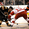 Boston: Bruins center Marc Savard and his counterpart from Detroit, Pavel Datsyuk square off for the opening face off during Boston's 4-1 win on November 29, 2008. Photo by Ben Laing/Newburyport Daily News Saturday November 29, 2008.
