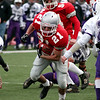 Waltham: Senior running back Kevin Johnston breaks through the Martha's Vineyard defense during Saturday's 40-20 win. Photo by Ben Laing/Newburyport Daily News Saturday December 6, 2008.