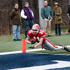 Waltham: Amesbury's Ryan Dragon (11) streches across the goal line during their 40-20 win over Martha's Vineyard for the state championship. Photo by Ben Laing/Newburyport Daily News Saturday December 6, 2008.