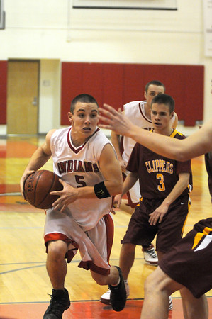 Amesbury: Amesbury's Jared Flannigan (5) drives to the basket during Thursday nights game against Newburyport at AHS. Photo by Ben Laing/Newburyport Daily News Thursday December 18, 2008.