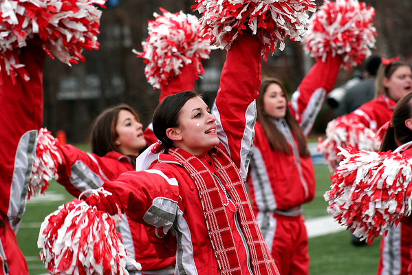 Waltham: The Amesbury high cheerleaders get the crowd fired up during the Indians 40-20 victory over Martha's Vineyard on Saturday. Photo by Ben Laing/Newburyport Daily News Saturday December 6, 2008.