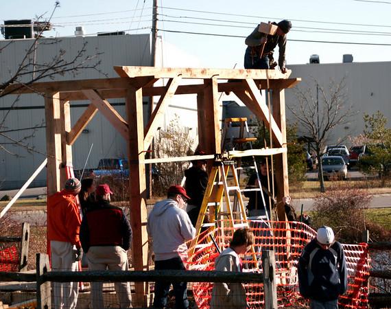 Newburyport: Volunteers help construct an outdoor pavillion at the River Valley Charter School in Newburyport Wednesday afternoon. Photo by Ben Laing/Newburyport Daily News Wednesday December 3, 2008.