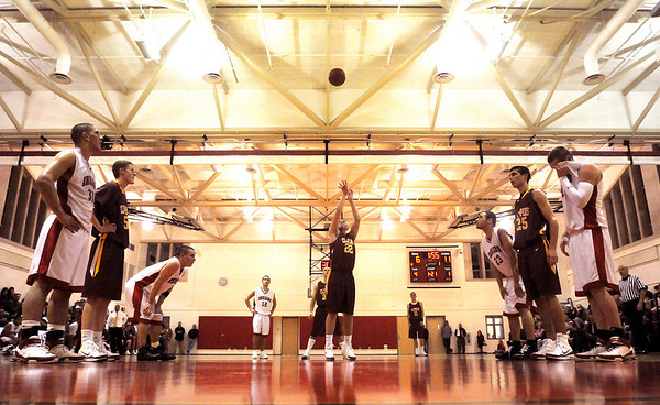 Amesbury: Nick Welch (8) of Newburyport takes a free throw during Thursday night's game against Amesbury. Photo by Ben Laing/Newburyport Daily News Thursday December 18, 2008.