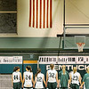 West Newbury: The Pentucket girls basketball team stands and salutes the flag during the playing of the National Anthem at Monday's game against Triton. Photo by Ben Laing/Newburyport Daily News Monday December 22, 2008.