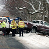 Salisbury:<br /> A pickup truck slid off Main Street in Salisbury, just west of Bartlett's Farmstand, hitting a tree yesterday around 1:00 p.m. as slick roads caused several minor accidents. The occupant was taken by ambulance with minor injuries.<br /> Photo by Bryan Eaton/Newburyport Daily News Wednesday, December 17, 2008