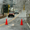 South Hampton:<br /> Red cones and police tape hanging from downed lines warn motorists on Main Avenue in South Hampton.<br /> Photo by Bryan Eaton/Newburyport Daily News Friday, December 12, 2008