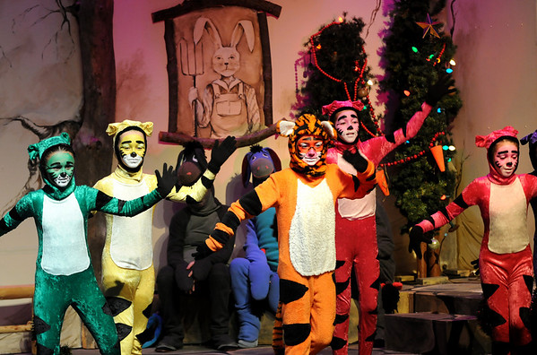 "Newbury:<br /> The ""Tiggers"" perform a number in the ""Christmas in the Woods"" production by Newbury Elementary School's Theater Workshop and the PTA on Tuesday. The play, written and directed by Stacey April Fix, is an adaptation of ""The Adventures of Winnie the Pooh.""<br /> Photo by Bryan Eaton/Newburyport Daily News Tuesday, December 16, 2008"
