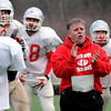 Amesbury:<br /> Amesbury High football coach Thom Connors gets his team ready to take on Whittier Vocational Technical School tonight in Lowell.<br /> Photo by Bryan Eaton/Newburyport Daily News Monday, December 01, 2008