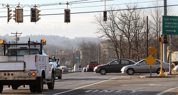 Amesbury:<br /> It was travel at your own risk at the intersection of Route 110, Clarks Road and Elm Street in Amesbury as the traffic lights were without power.<br /> Photo by Bryan Eaton/Newburyport Daily News Friday, December 12, 2008