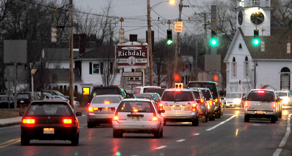 Newburyport:<br /> Only one lane turns left toward Amesbury and the interstates in Salisbury Square causing backups during peak traffic times.<br /> Photo by Bryan Eaton/Newburyport Daily News Tuesday, December 09, 2008