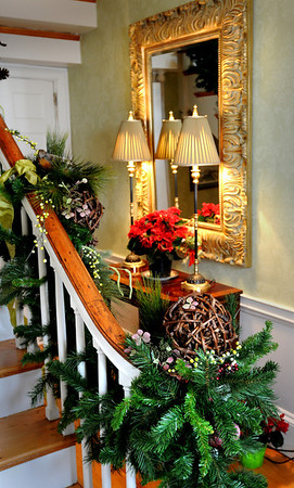Newburyport:<br /> A decorated stairway greets visitors to Mary Slatoff's Fruit Street home for this weekend's Holiday Tour.<br /> Photo by Bryan Eaton/Newburyport Daily News Tuesday, December 02, 2008